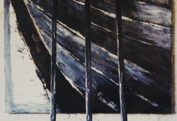 8. Werner Brunner, AHOI, IV, 1993 (Schellack auf Sperrholz, 3 Holzstangen mit Blei, Tableau 180 x 180) _DSF5899 (3)