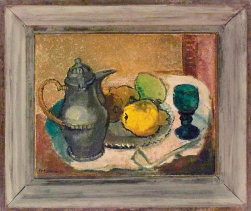 Hans-Jüchser_Stillleben-mit-grünem-Glas.-1953