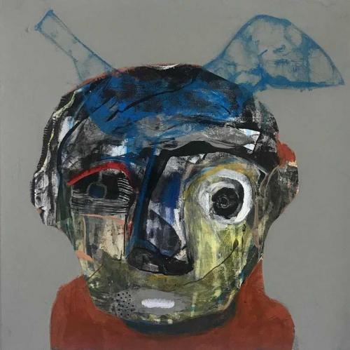 Semaan Khawam, Birdman, 2020 • Mischtechnik auf Leinwand, 45 x 45 cm
