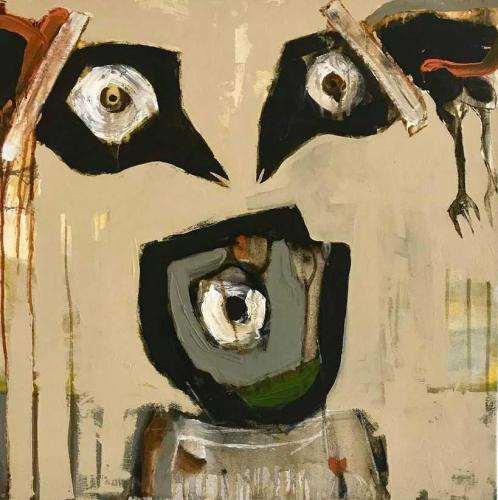 Semaan Khawam, Birdman Beirut. 2020 • Mischtechnik auf Leinwand. 70 x 70 cm