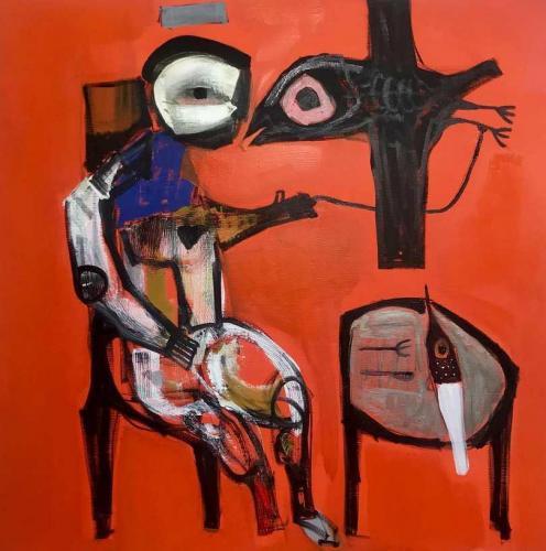 Semaan Khawam, Birdman. 2018 • Mischtechik auf Leinwand, 90 x 90 cm